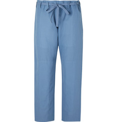 Paul Smith Cropped Washed Cotton and Linen-Blend Drawstring Trousers