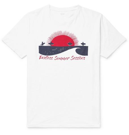 HARTFORD Slim-fit Printed Slub Cotton-jersey T-shirt - White Payer Frais De Port Offerts Avec Paypal EC6WNXL7to