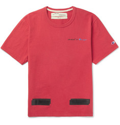Off-White + Champion Printed Cotton-Jersey T-Shirt