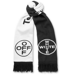 Off-White Fringed Intarsia Cotton Scarf