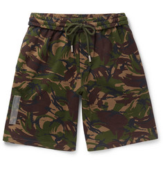 Off-White Wide-Leg Camouflage-Print Cotton Shorts
