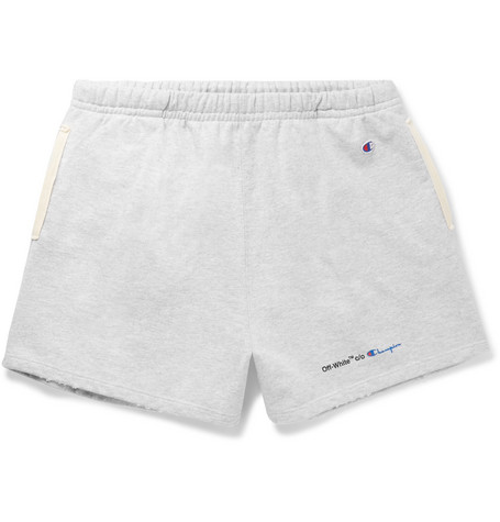 + Champion Wide Leg Mélange Loopback Cotton Blend Jersey Shorts by Off White
