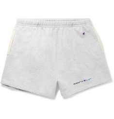 Off-White + Champion Wide-Leg Mélange Loopback Cotton-Blend Jersey Shorts