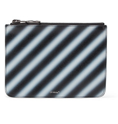 Off-White Striped Cross-Grain Leather Pouch