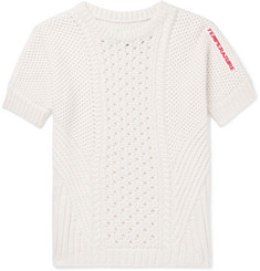 Off-White Slim-Fit Appliquéd Open-Knit Cotton Sweater
