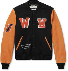 Off-White Eagle Temp Appliquéd Wool-Blend Felt and Suede Bomber Jacket