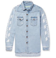 Off-White Distressed Printed Bleached Denim Shirt