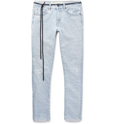 Off-White - Slim-Fit Distressed Printed Bleached Denim Jeans