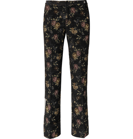 Off-white Floral-jacquard Trousers In Black