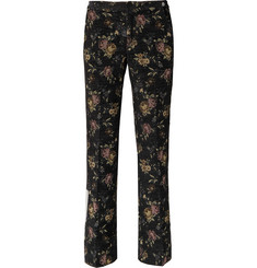 Off-White Floral-Jacquard Trousers