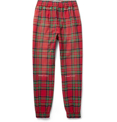 Off-White Tapered Checked Cotton-Blend Trousers