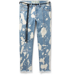 Off-White - Slim-Fit Cropped Distressed Bleached Denim Jeans