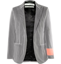 Off-White Grey Chiffon-Covered Woven Blazer