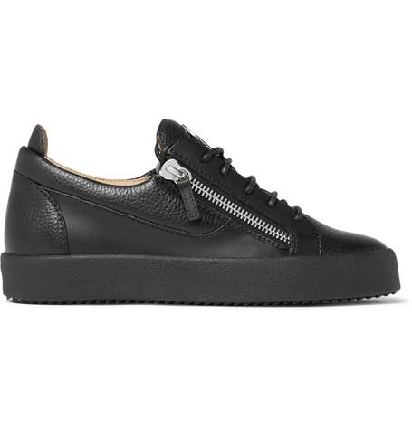 74770255bbaef Giuseppe Zanotti Logoball Full-Grain Leather Sneakers In Black ...