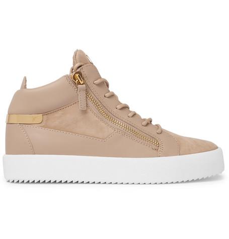 3400daa4b80 Giuseppe Zanotti Logoball Leather And Suede High-Top Sneakers - Beige