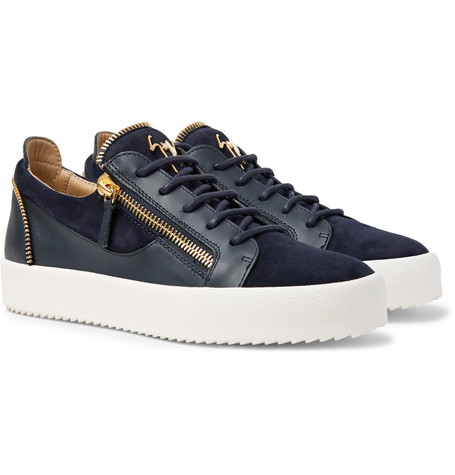 339ce8cafa0 Giuseppe Zanotti Logoball Leather And Suede Sneakers - Midnight Blue