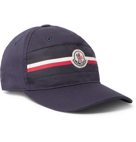 Appliquéd Striped Cotton-twill Baseball Cap - Navy