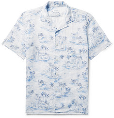 Hartford Slam Camp-Collar Printed Linen Shirt