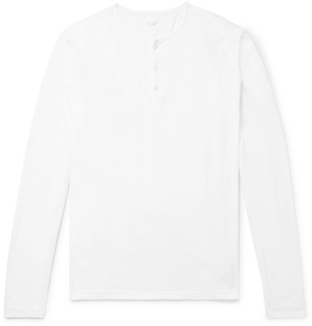 Cotton-jersey Henley T-shirt - White