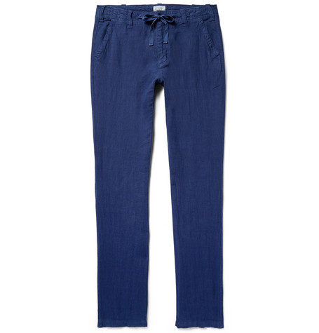 Troy Slim-fit Linen Drawstring Trousers - Blue