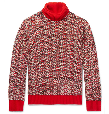 mr p male jacquard woolblend rollneck sweater