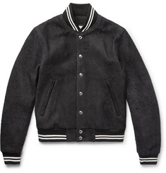 John Elliott + Blackmeans Distressed Suede Bomber Jacket