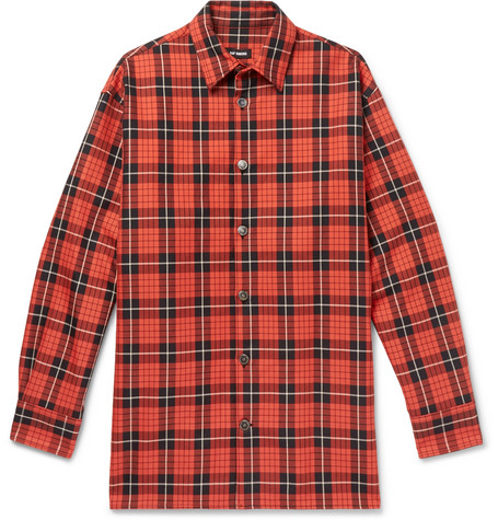 79e62e58 Raf Simons Oversized Leather-Trimmed Checked Denim Shirt In Red ...