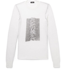 Raf Simons Slim-Fit Printed Ribbed-Knit Sweater