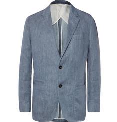 Zegna Blue Unstructured Melange Linen Blazer,Blue