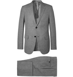 Ermenegildo Zegna Grey Milano Slim-Fit Checked Wool, Linen and Silk-Blend Suit