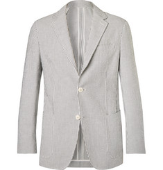 Ermenegildo Zegna Grey Unstructured Striped Cotton-Seersucker Suit Jacket