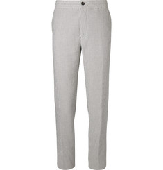 Ermenegildo Zegna Grey Striped Cotton-Seersucker Drawstring Suit Trousers