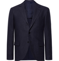 MP Massimo Piombo Midnight-Blue Slim-Fit Linen Blazer