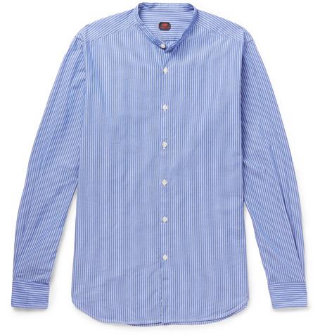 MP MASSIMO PIOMBO Rodin Slim-fit Grandad-collar Striped Cotton Shirt - Light blue Abordables À Vendre populaire Images Footlocker Jgnx4naWGC