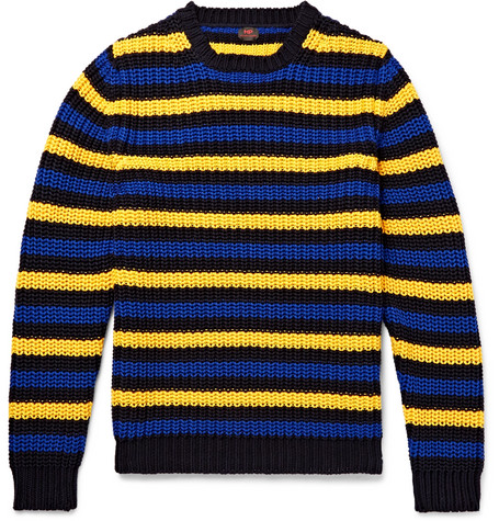 Mp Massimo Piombo Hirst Slim-fit Striped Cotton Sweater In Yellow