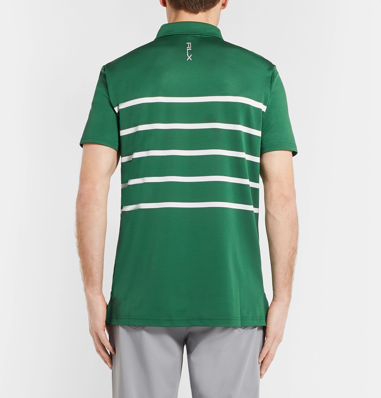 Rlx Ralph Lauren Striped Stretch Tech Piqu Polo Shirt