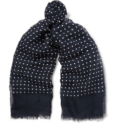 Drake's - Polka-Dot Modal, Linen and Silk-Blend Scarf