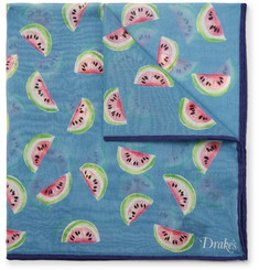 Drake's Watermelon-Print Cotton and Silk-Blend Pocket Square