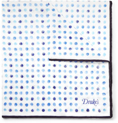 Drake's Polka-Dot Cotton and Silk-Blend Pocket Square