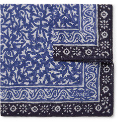 Drake's Batik Printed Cotton, Modal and Cashmere-Blend Pocket Square
