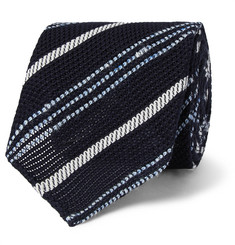 Drake's 8cm Striped Silk and Linen-Blend Tie