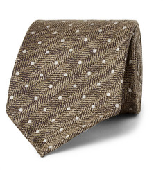 Drake's 8cm Polka-Dot Herringbone Silk and Linen-Blend Tie