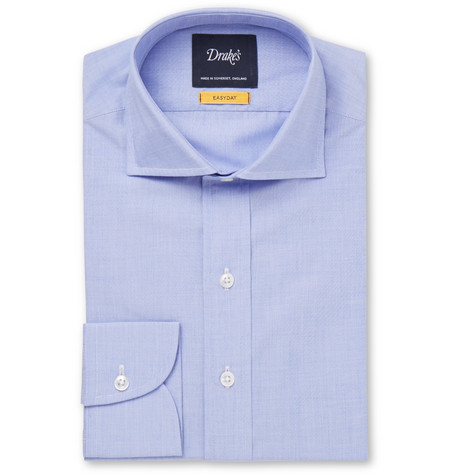 Drake's Easyday Light-blue Cutaway-collar End-on-end Cotton Shirt