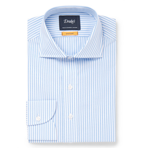 Blue Cutaway-collar Striped Cotton Shirt - Light blue