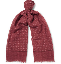Isaia - Fringed Printed Cotton and Linen-Blend Scarf