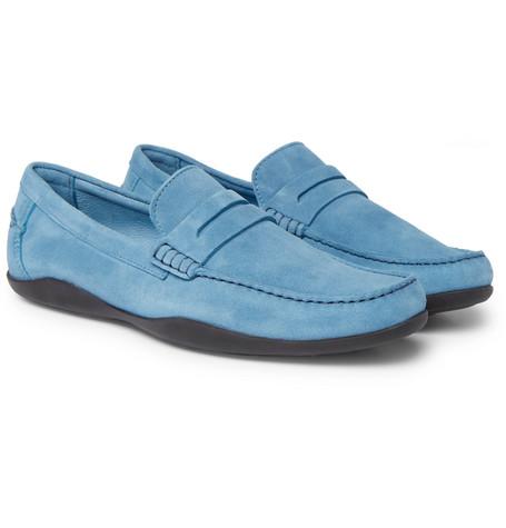 Basel Suede Penny Loafers - Light blueHarrys of London FUmeSna