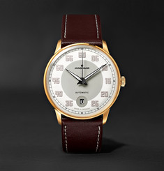 Junghans Meister Driver Automatic 38mm Gold-Tone Stainless Steel and Leather Watch
