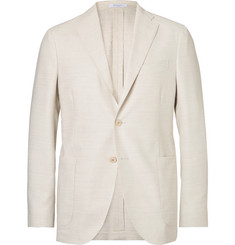 Boglioli Herringbone Silk and Virgin Wool-Blend Blazer