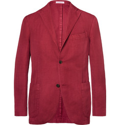 Boglioli Claret Herringbone Cotton and Linen-Blend Blazer
