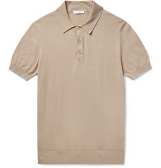 Boglioli - Slim-Fit Contrast-Tipped Knitted Cotton Polo Shirt